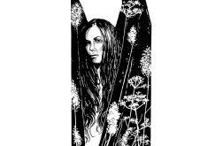 Anioł w kwiatach - Linoryt 70x33cm