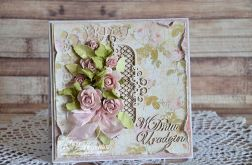 kartka urodzinowa różowe róże