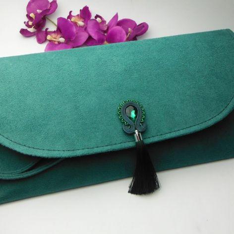 Torebka kopertówka soutache zielona chwosty