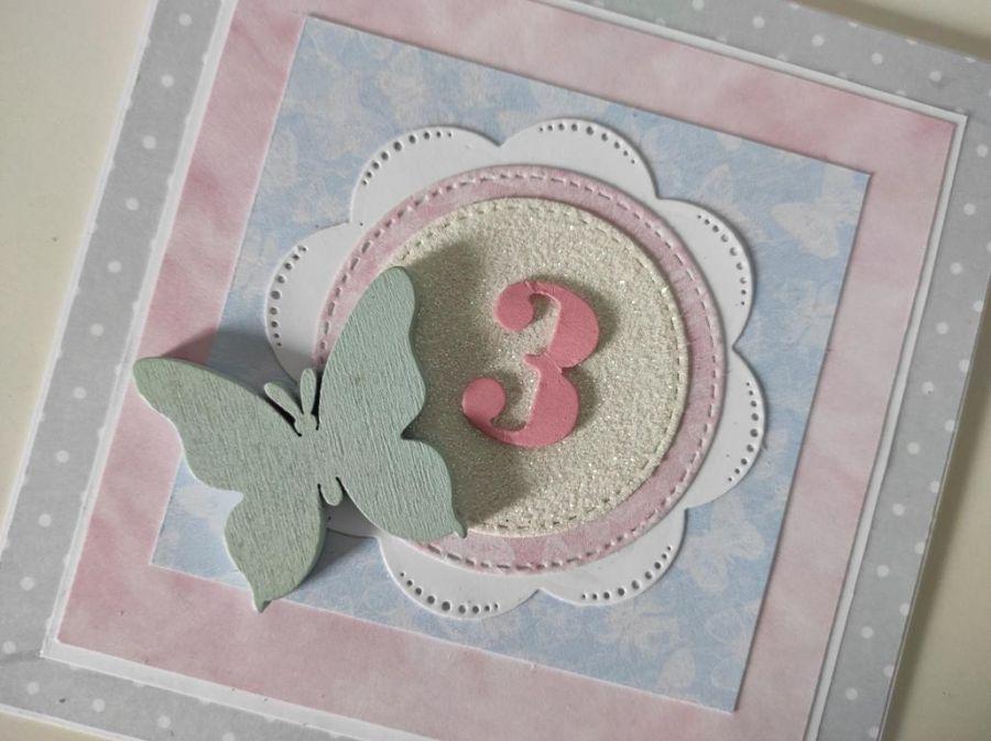 Kartka Roczek urodziny 2,3.. ręcznie robiona motylek -