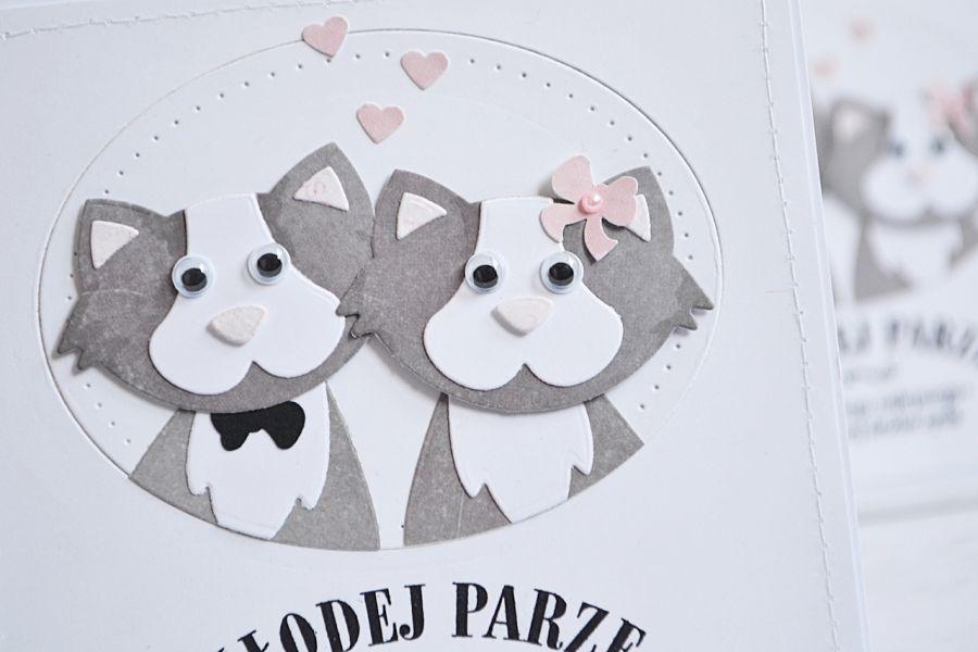Kartka ślubna dla młodej pary Kotów -