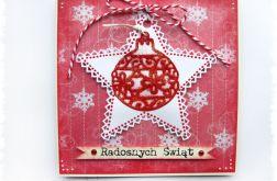 Kartka świąteczna z bombką i gwiazdką