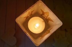 świecznik szklany gwiazda hygge