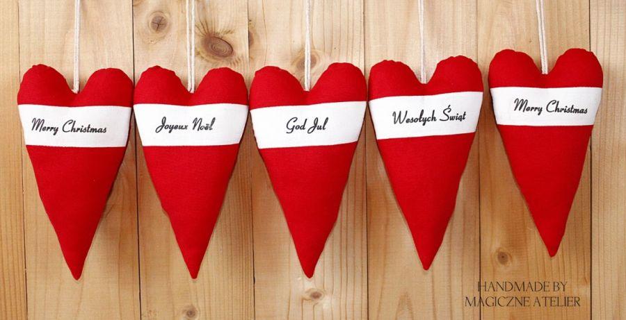 Świąteczne zawieszki - duże serca