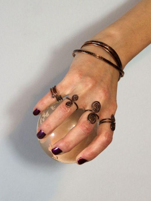 Cienka - miedziana bransoletka 190811-01 - Miedziana biżuteria