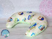 ROGAL do karmienia poduszka fasolka zagłówek - bawełna i Minky - jasny zielony sowy