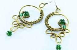 Kolczyki wire wrappin długie stare złoto