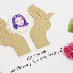 Zaproszenia na Pierwszą Komunię Świętą dłonie
