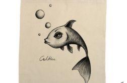 Ryba - torba z nadrukiem ecru
