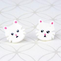 Kolczyki białe kotki