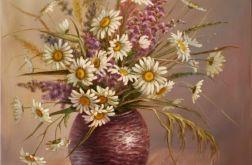 Margaretki w Wazonie,ręcznie malowany, olej