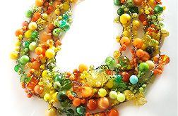 5047 naszyjnik zielony żółty pomarańczowy