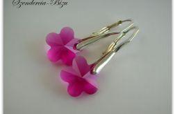 Kolczyki Swarovski Flower Fuchsia 12mm