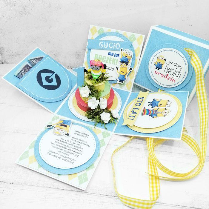 Box z minionkiem niebieski UDP 025 - Box z minionkiem niebieski urodziny (2)
