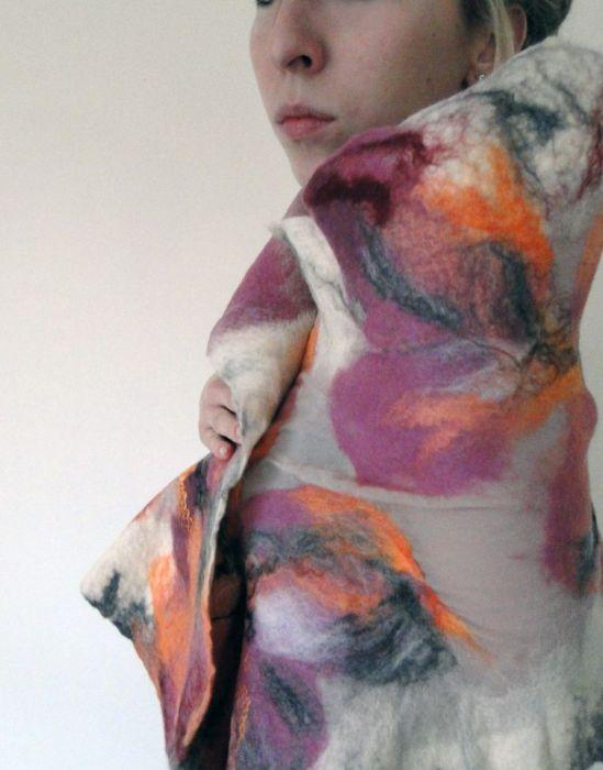 elegancki szal filcowany na jedwabiu