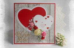 Kartka ślubna z sercami