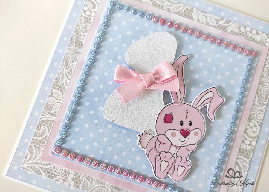 Kartka na roczek króliczek krysztalki pastelowe -