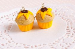 Słonecznikowe muffinki kolczyki z modeliny