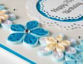 Oryginalna kartka na 70 urodziny, Quilling, kolor niebieski