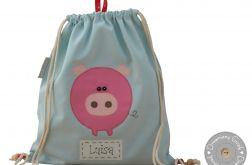 plecak worek świnka z imieniem do przedszkola