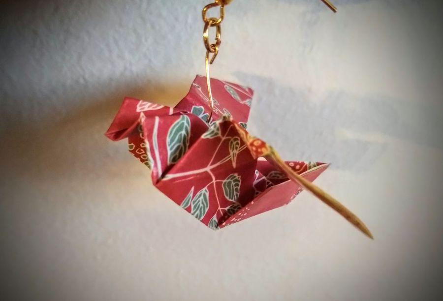 Kolczyki origami ptaszki czerwone
