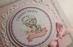 Kartka na Chrzest różowa z misiem handmade