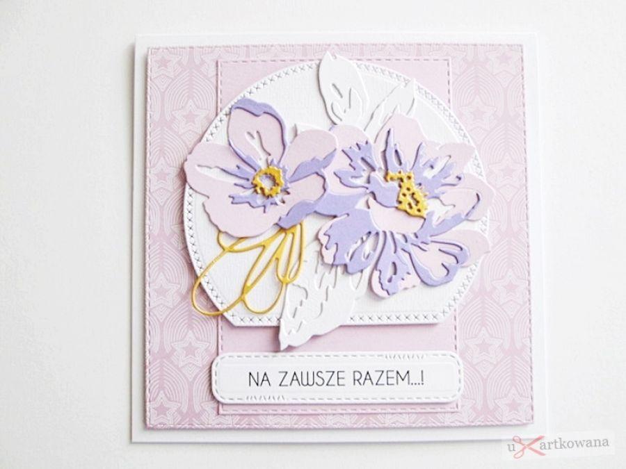 Kartka NA ŚLUB fioletowo-różowa - Kartka na ślub fioletowo-różowa
