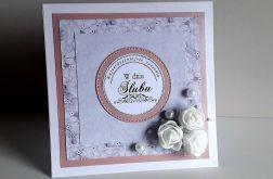 Kartka ślubna szaro-różowa perełki