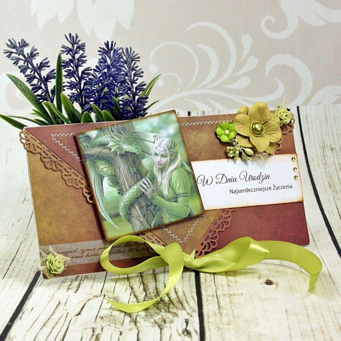 kartka urodzinowa- smoki i elfy (k7)