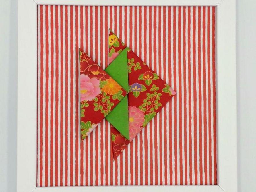 Obrazek origami wiszący lub stojący Ryba - Zbliżenie