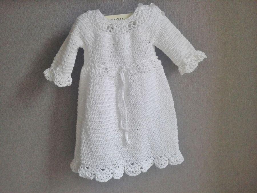 Biała sukienka z opaską bawełniana - biała sukienka do chrztu