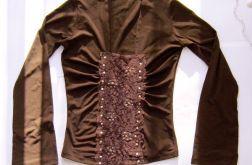 brązowa bluzka z koronką