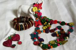 Kolorowy zestaw biżuterii z kokosa, 3 cześci