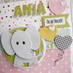 Kartka na Roczek ze słonikiem dla dziewczynki -