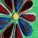 SWS TOREBKI Fajna duża torba damska na suwak - Zbliżenie dekoracyjnego kwiatu