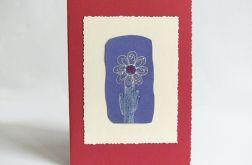 Kartka uniwersalna bordowa kwiatkiem 2