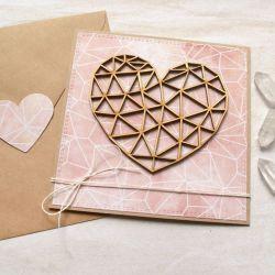 kartka ślubna, miłosna - geometryczne serce I