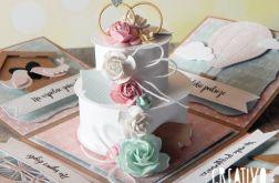 Ślubny exploding box - mięta i róż
