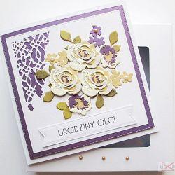 Kartka NA URODZINY kremowo-fioletowe róże