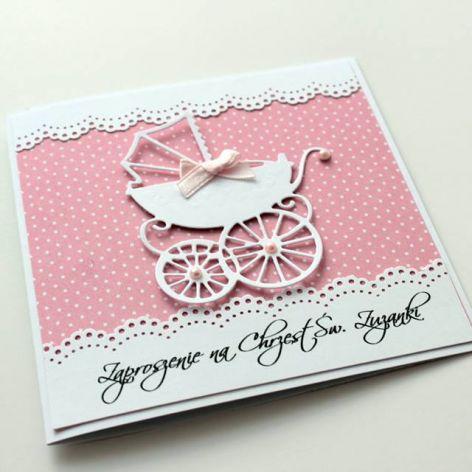 Zaproszenie na chrzest z wózeczkiem - pink