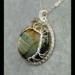 Labradoryt, srebrny wisior drzewko szczęścia - drzewko szczęścia wisor wire wrapped