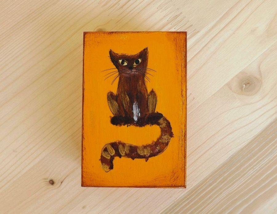 Pudełko malowane m. - Kotek w pomarańczowym