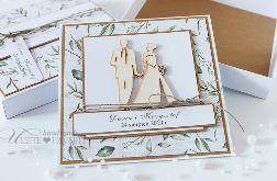Kartka w style eco z listakami ślub