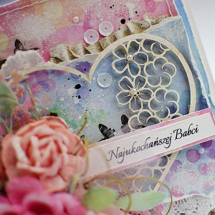 Radosna kartka na ślubi z serduszkiem -