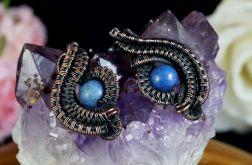 Miedziane kolczyki z dumortierytem niebieskie
