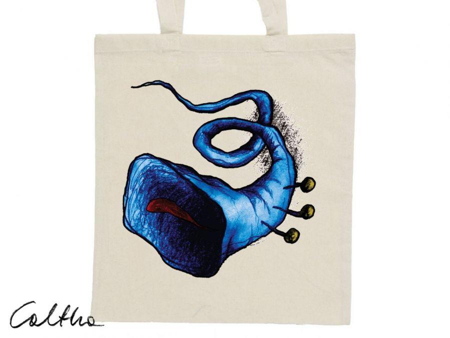 Niebieska trąbka - torba z nadrukiem