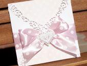 Zaproszenie na ślub z ażurowym sercem