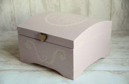 Kufer na kartki ślubne PINK RUSTIC