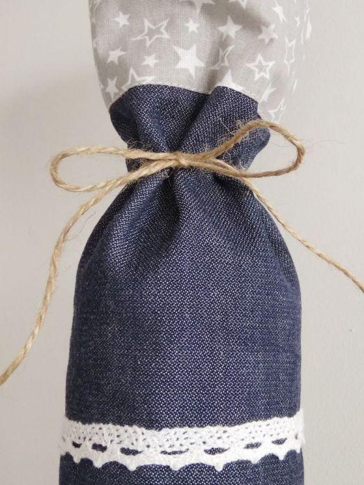 Torebka na butelkę torba na prezent jeans