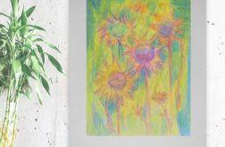 Rysunek kwiaty na szarym tle nr 7 - obrazek